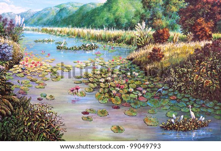 original oil painting on canvas - landscape of lotus swamp - stock photo