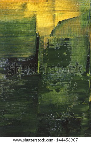 original oil painting on canvas, nice structure, green and yellow - stock photo