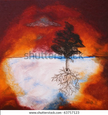 Original oil painting on canvas of a fall tree against fiery sunset sky - stock photo