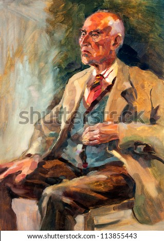 Original oil painting on canvas.Portrait showing a senior man  sitting.Modern Impressionism - stock photo