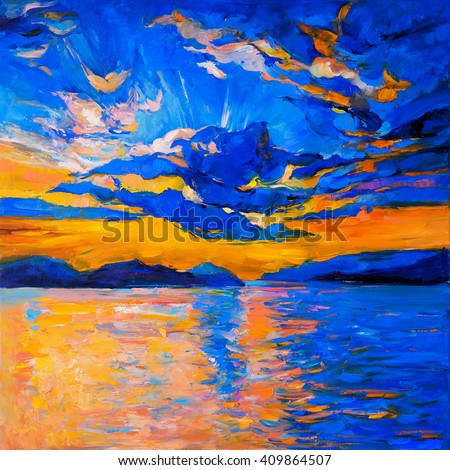 Original oil painting on canvas. Sky sunset and ocean. Modern impressionism - stock photo