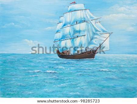 Original  Oil Painting - Sailing Boat - stock photo