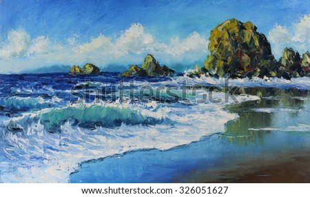 Original oil painting seascape, waves, rocks, clouds on canvas. Impasto artwork. Impressionism art. - stock photo