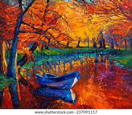 Original oil painting showing beautiful Autumn forest,lake and boat on canvas. Modern Impressionism - stock photo