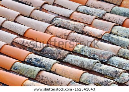 Original old roof orange tile - stock photo