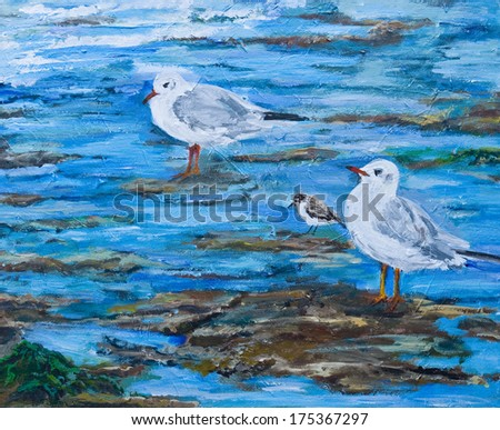 Original painting of seaside birds on the beach with an incomming tide. There are two gulls and a sandpiper standing on the rocks waiting for food to be washed ashore. - stock photo