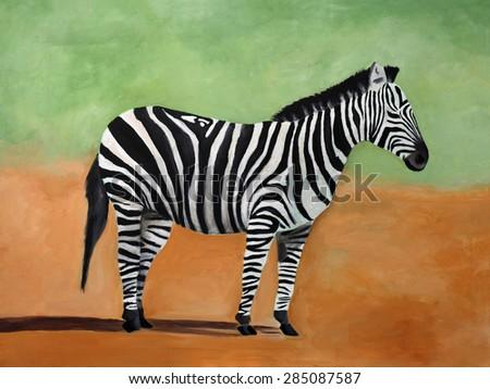 Original painting of Zebra, Kenya - stock photo