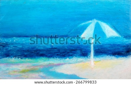 Original painting with oil pastel of a beach - stock photo