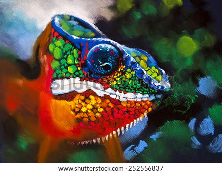 Original pastel panting on paper.Colorful chameleon in the woods. - stock photo