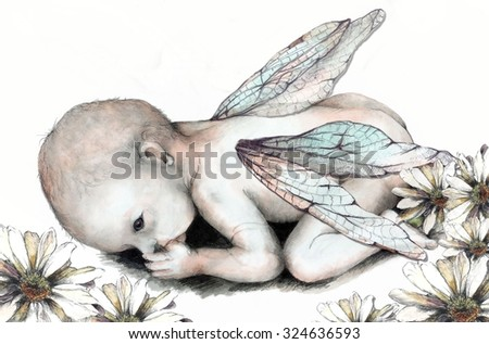 Original Pencil Drawing of a Baby Fairy or Nature Baby  - stock photo