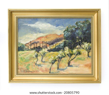 Original (photographer's) framed oil painting shot against a white background. Could be used as room decor. - stock photo
