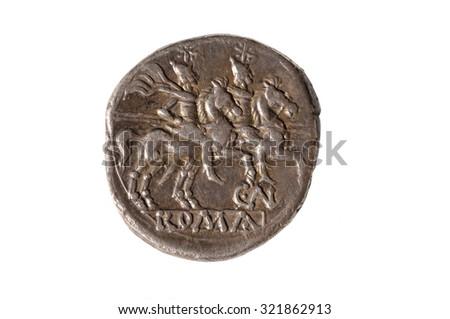 Original roman coin silver, Denarius - stock photo