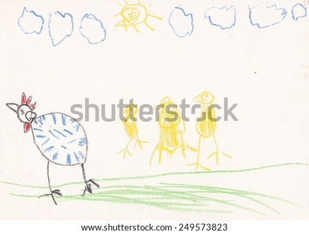 Original scanned picture of 5 year old girl - hen with chicks on meadow - stock photo