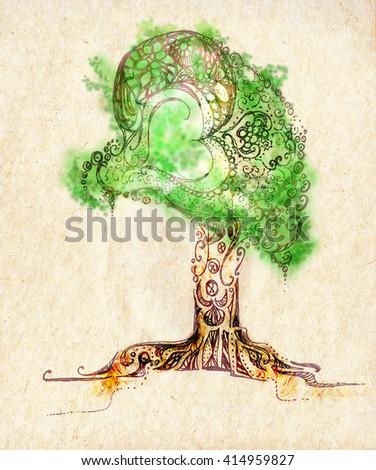 Original stylized tree, pencil drawing - stock photo