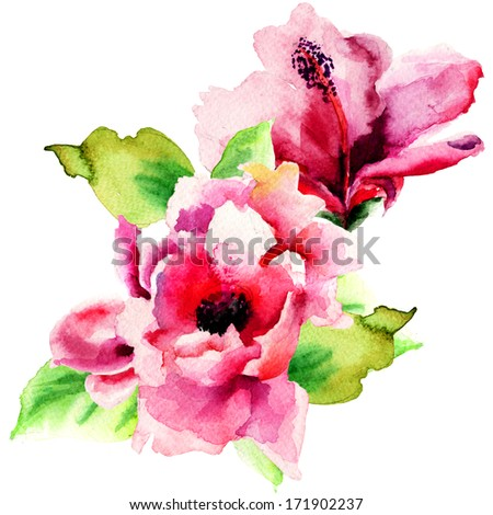 Original Summer flowers, watercolor illustration  - stock photo
