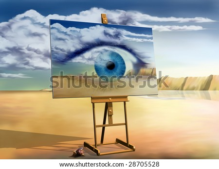 Original surreal landscape with a painting of a surreal landscape - stock photo