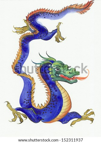 Original watercolor painting of a blue dragon - stock photo
