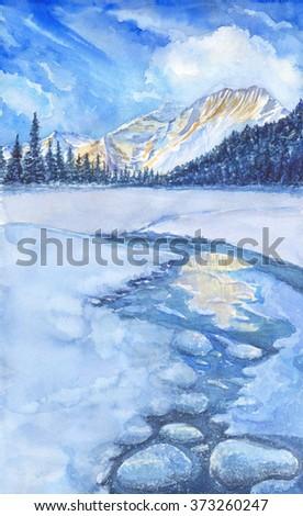 Original watercolor painting of winter landscape - stock photo