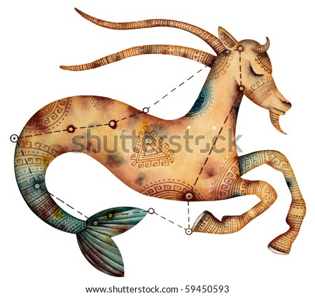 Original zodiac symbol of capricorn - stock photo