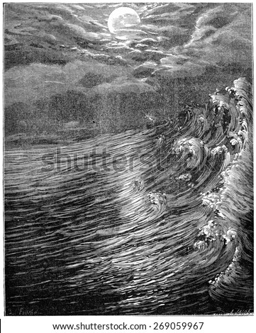 Originally. Moon is closest to the Earth still fluid produced great tides, vintage engraved illustration. Earth before man  1886. - stock photo
