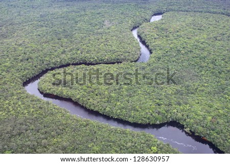 Orinoco river from the air - stock photo