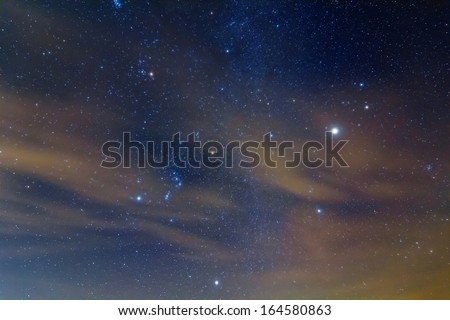 orion constellation and jupiter planet - stock photo