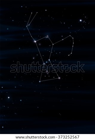 Orion Constellation Drawing On Its Real Sky Location - stock photo