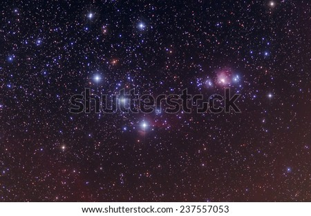 Orion's Belt with pointed stars - stock photo