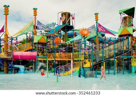 ORLANDO - APRIL 1: Popular aquapark of Aquatica, water town in Orlando, Florida on April 1, 2014 - stock photo