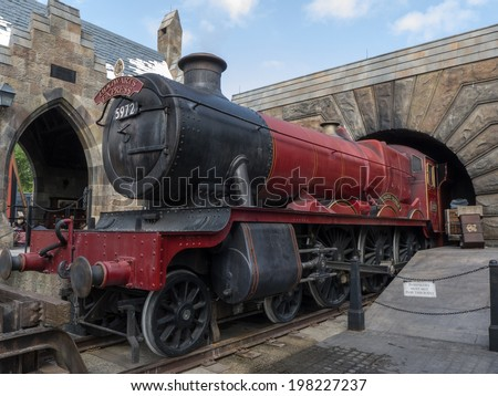 ORLANDO, FLORIDA APRIL 19th:  Hogwarts Express Train at Wizardly World of Harry Potter at Islands of Adventure, Universal Studios, Orlando Florida. on April 19th, 2014. - stock photo