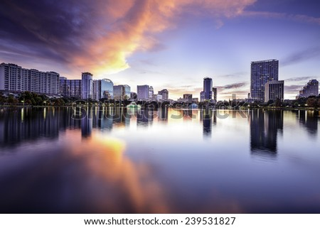 Orlando, Florida, USA downtown city skyline at Lake Eola. - stock photo