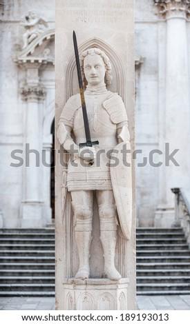 Orlando's column in Dubrovnik, Croatia. - stock photo