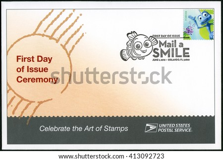 ORLANDO, UNITED STATES OF AMERICA - JUNE 01, 2012: A stamp printed in USA shows Dot and Flick from A Bug's Life, series mail a smile - stock photo