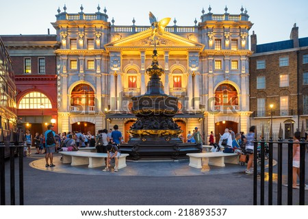 ORLANDO,USA - AUGUST 23, 2014 : London scene with the Piccadilly Circus fountain near the Harry Potter ride at  Universal Studios Florida theme park - stock photo