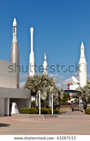 ORLANDO, USA - JULY 25: The Rocket Garden at Kennedy Space Center features  authentic rockets from past space explorations on July 25, 2010 in Orlando, USA. - stock photo