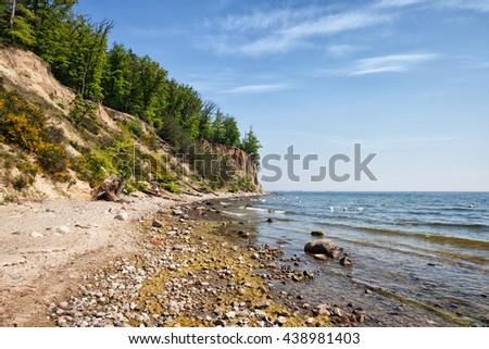 Orlowo Cliff in Gdynia, Poland, Baltic Sea coastline - stock photo