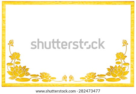 Ornament elements, vintage gold floral stucco designs with frame isolated on white background include clipping path - stock photo