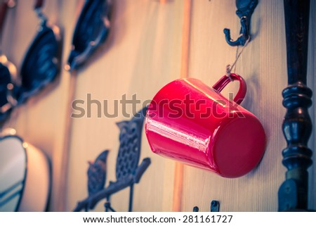 Ornament red cup as coffee shop - stock photo