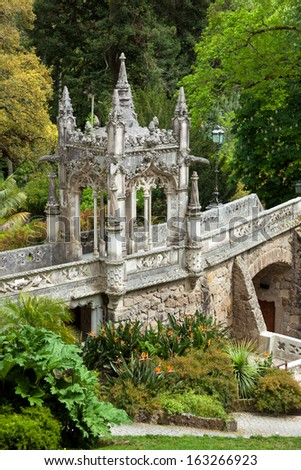 Ornamental Architectural  Element in the park / Quinta da Regaleira Palace in Sintra, Lisbon, Portugal / Europe - stock photo