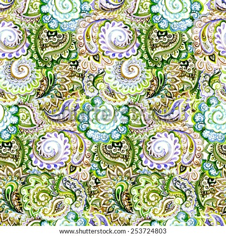 Ornamental embroidery - indian seamless pattern with curve and paisley. Water color - stock photo