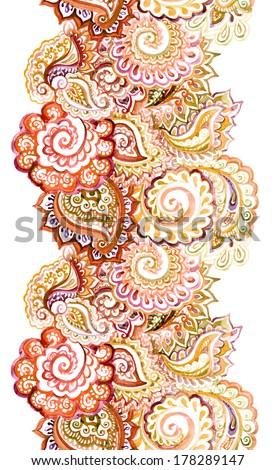 ornamental ethnic border frame with red-brown indian ornament - stock photo