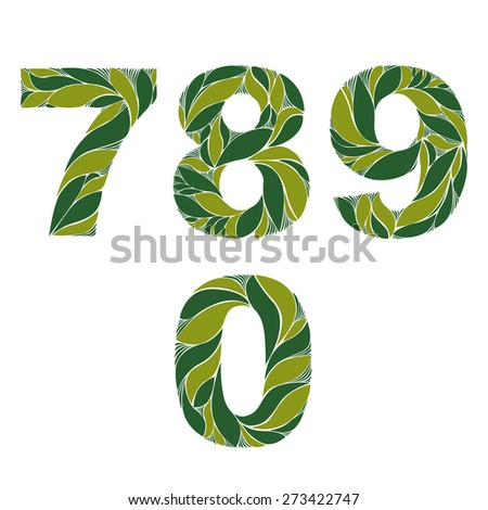 Ornamental figures, numbers decorated with summer green herbal pattern isolated. 7, 8, 9, 0 - stock photo