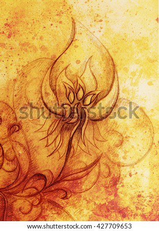 ornamental filigran drawing on paper with spirals, flower petals and flame structure pattern, Sepia effect - stock photo