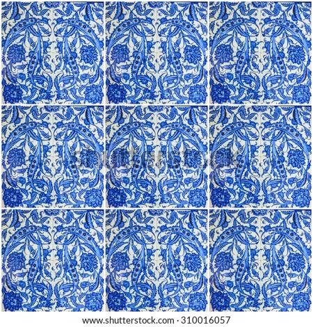 ornamental oriental background. Blue ceramic tile Turkish - stock photo