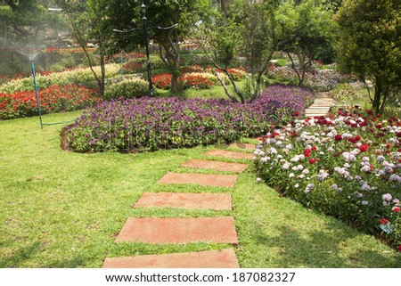 Ornamental Public Gardens and Bushes greenery and flowers. - stock photo