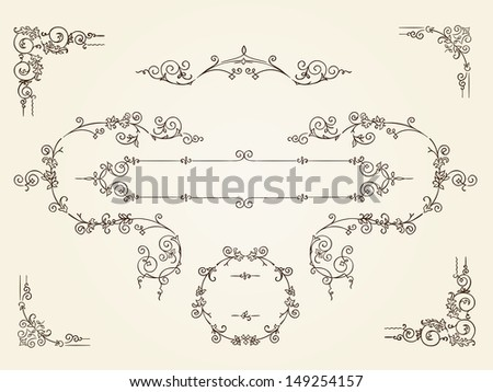 Ornamental vintage rectangular border frames - stock photo