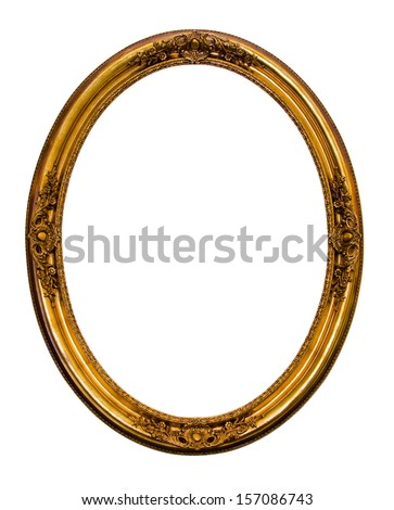 Ornamented gold plated empty picture frame Isolated on white background.  - stock photo