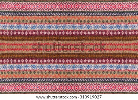 Ornamented knitted wool texture - stock photo