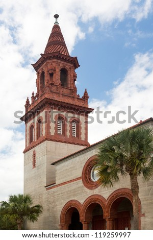 Ornate brick tower of Grace United Methodist Church built Henry Flagler in St Augustine Florida - stock photo