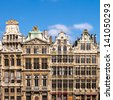Ornate buildings of Grand Place (Grote Markt) , Brussels, Belgium - stock photo